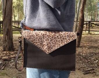 Leopard print clutch, leopard clutch, leather clutch, leopard handbag, leopard backpack, leather bag, leather handbag, genuine leather,