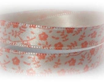 3 m orange printed satin ribbon - 8 mm
