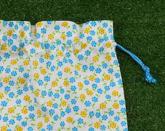 Tiny flowers small drawstring bag for gifts, game pieces, trinkets, tiles