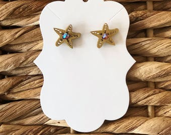 tiny gold starfish and lilac Swarovski crystal stud earrings