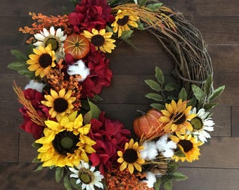 Pumpkin Wreath, Cotton Wreath, Sunflower Wreath, Fall Wreath, Front Door Wreaths, Autumn Wreath, Fall Wreath for Front Door, Door Wreath