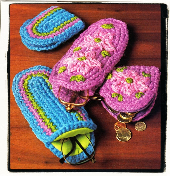 Instant Download PDF Easy Beginners Crochet Pattern to make a Spectacle Eyeglass Glasses Phone Case and Coin Money Small Change Purse