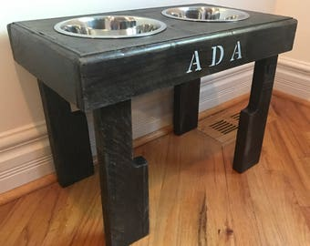 """reclaimed elevated pallet dog bowl stand pet feeding station with 2 brand new stainless steel bowls. 21"""" L X 11"""" W X 16"""" T"""
