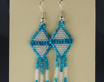 Blue and White Seed Bead Earrings