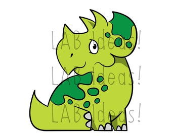 Baby Triceratops clipart – dinosaur SVG, EPS, jpg, png - line drawing and full color dino cutting files for scrapbooks, vinyl, Cricut, etc