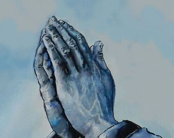 Praying Hands Art Print watercolor spiritual painting prayer art