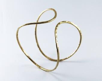 Gold bangle handmade amorphous cuff bracelet
