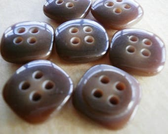 Set of 4 square plastic, brown color, size 14 mm buttons