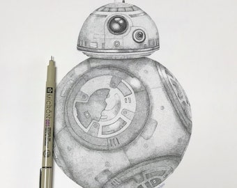 Original BB8 Dotwork Illustration