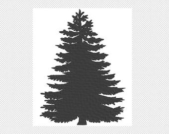 Solid Pine Treer Embroidery Design File - multiple formats - one color design - 5 sizes - instant download + BONUS embossed design