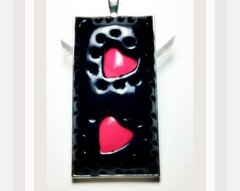 Pink Heart Pendant Handmade by Me FREE SHIPPING!