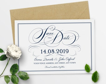 Save The Date Calendar Save The Date Template Modern Save The Date Elegant Save The Date Cards - #17-11