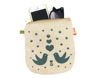 Dark Teal Print Lovebirds Linen Zipper Pouch