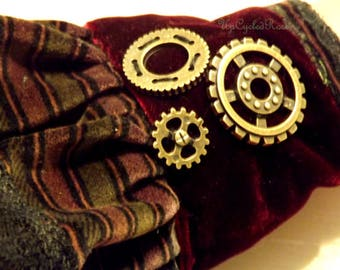 UpCycled SteamPunk Wrist Corsage Velvet Cuff Renaissance Festival  Woodland Fairie  Cuff  FREE SHIPPING in USA
