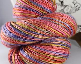 Handspun Yarn Gently Thick and Thin Fine Sport Single Wool and Soy silk  'Karaoke Playful'
