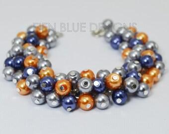 Pearl Bracelet, Gray, Navy and Orange Cluster Bracelet, Chunky Bracelet, Pearl Cluster Bracelet, Navy Bridesmaid Bracelet, Chunky Bracelet