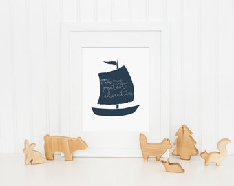 You Are My Greatest Adventure, Nautical Nursery Art Print, Nautical Decor, Nautical Wall Art - Baby Boy Nursery Art, Kids Wall Art