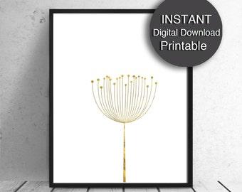 Printable A4 Scandinavian Art Print, Gold and White, Nature Print, 8x10 16x20 A3 A4