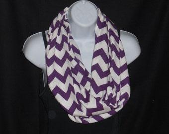 Acai Purple Chevron on White Cotton Jersey Blend Knit Fabric Infinity Scarf
