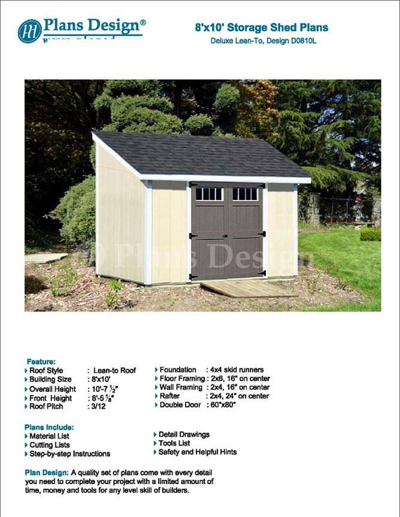 8u0027 X 10u0027 Garden Storage Lean To Shed Plans / Blueprints, Material List,  Detail Drawnings And Step By  Step Instructions Included #D0810L From  PlansDesign On ...