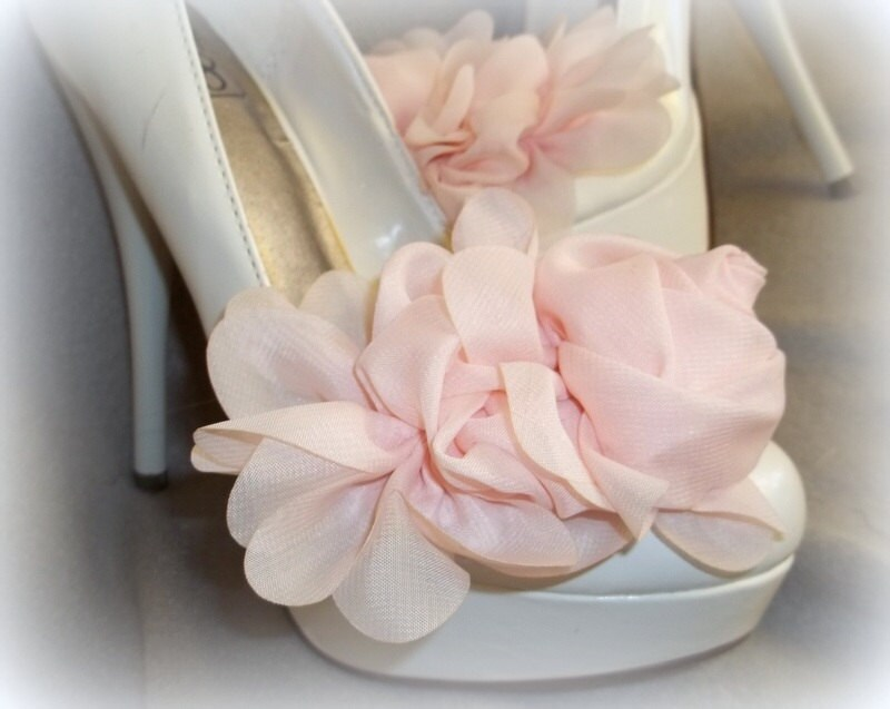 Shoe clips chiffon flower shoe clips floral shoe clips zoom mightylinksfo Images