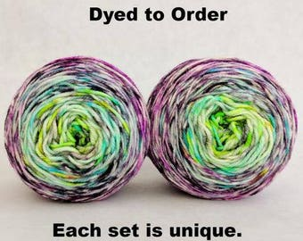 Electric Mayhem Impressionist Gradient Matching Socks Set Yarn, dyed to order - pick your size, pick your yarn base