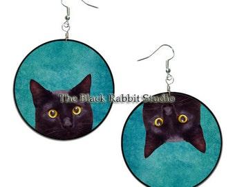 Black Cat  - handmade earrings - decoupage - Black Cat jewelry,  Hypoallergenic Earrings
