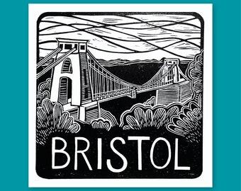 Bristol - lino print, greetings card, handmade, local, clifton, suspension bridge, Brunel, city, uk, mono, black and white