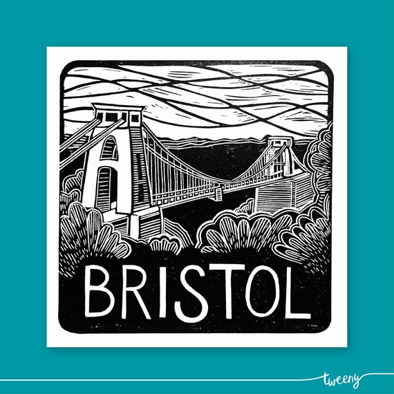Bristol lino print greetings card handmade local reheart