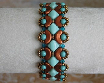 Beaded Bracelet Tutorial, Bead Pattern, Calliope Bracelet, Arcos Beads, Silky Beads, Swarovski Bicone, Beadweaving, Beading Instructions,