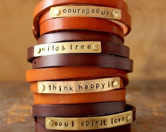 mindfulness gift, custom bracelet, leather bracelet, leather wrap bracelet, personalized leather bracelet, inspiration bracelet, cuff