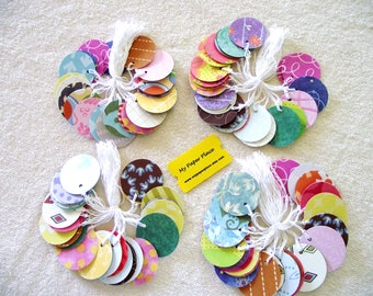 50 - ROUND  PRESTRUNG  TAGS  Assorted   - Free  Secondary Shipping