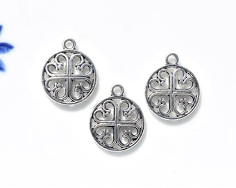 5 Open round Celtic knot charms | silver Celtic charm | Celtic knot pendant | Celtic knot | charm bracelet | celtic charms | celtic pendants