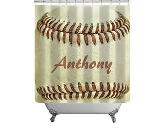 Baseball Shower Curtain-Custom Bath Decor-Dorm Bathroom-Sports Bathroom-Sports Decor-Baseball Decor-Boys Bathroom Decor-Gift Ideas