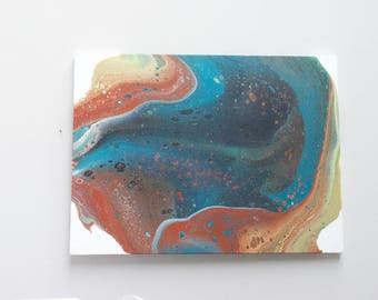 Fluid Art Painting (#1824-3) - Acrylic Pour on Gallery Canvas Modern Wall Art