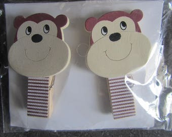 Set of 2 large magnets and topped with a wooden clothespin clips