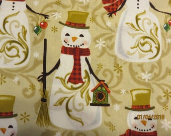 SNOWMEN in hats and red scarves on a beige background   100% Cotton  -Fabric-Priced Per 1/2 Yd-  Free Shipping