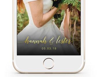 Gold Wedding Snapchat Filter / Wedding Snapchat Geofilter / Custom Snapchat filter/ Personalised Snapchat filter / Simple Snapchat Geofilter