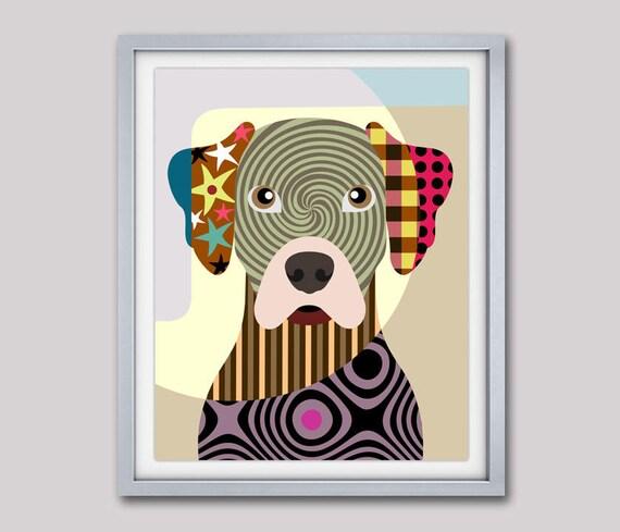 Rhodesian Ridgeback Art Print, Rhodesian Ridgeback Painting Decor,  Rhodesian Ridgeback Gift, Dog Portrait, Pet Portrait, Pop Art Dog