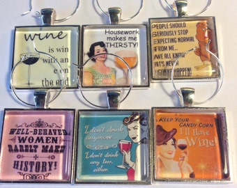 Snarky Funny Wine Glass Charms, Drink Markers, Barware Wine Accessories, Party Favors, Girlfriend Parties, Bunco Prizes - Set of 6 (442e)