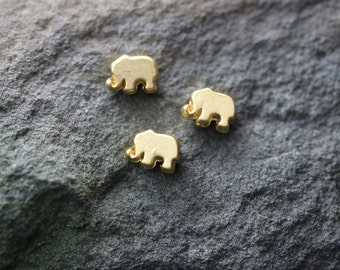 Gold Metal Brass Beads, Elephant Spacer Beads, Gold Elephant Charm, Animal Charms Wholesale Charms Bulk Jewelry Findings SFG048