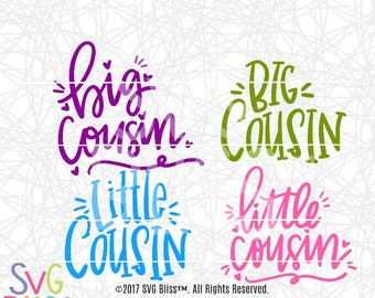 Cousin SVG Bundle, Kids, Baby, Handlettered, Cute, Boy, Girl, Family, Original, DXF, Cut File, Cricut & Silhouette Compatible Design Files
