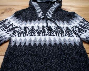 Genuine Peruvian Kids Jumper - Alpaca Wool Kids Sweater, MADE in PERU. Super Soft Pullover/Hoodie