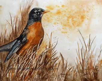 for her watercolor bird painting watercolor painting of Robin Bird art PRINT Large art print bird ROBIN PRINT robin art Print fall bird art