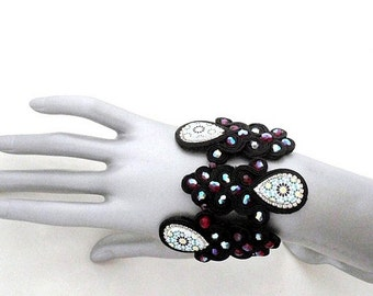 large geometric bead embroidered cuff , red black soutache bracelet , Spanish azulejos replica  , gift for hippie chic mom
