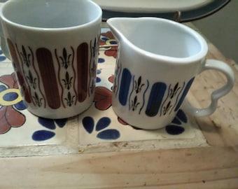 Fleur de lis coffee cup and creamer MCM Nasco