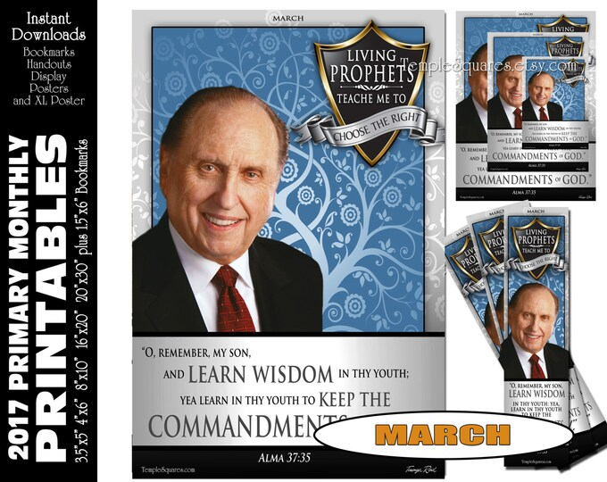 PRINTABLES CTR Bundle Primary MARCH 2017 Monthly Theme Poster Bookmarks Handouts Sharing Time Living Prophets Teach Me to Choose The Right