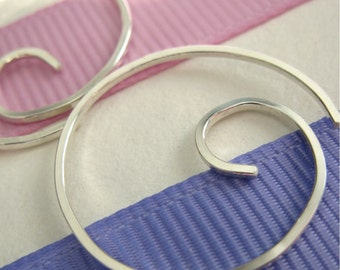 Free Shipping Item. Small Hoop Earrings. MINI. Swirls. Smooth Surface. 20 gauge square sterling silver wire