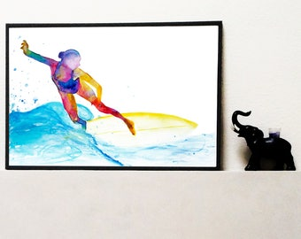 The waves rider - Fine Art Giclee Print surf watercolor painting - Surfing gift