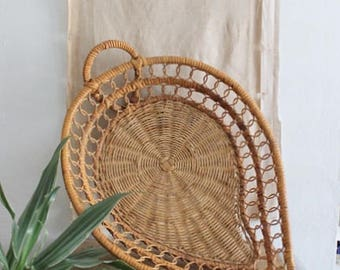 Vintage Woven Leaf Basket Tray